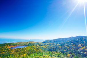 高見石から望む紅葉の白駒池と樹林と太陽の光芒の写真素材 [FYI01515983]