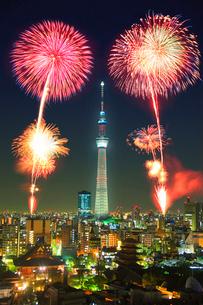 花火と東京スカイツリーのライトアップの写真素材 [FYI01516137]