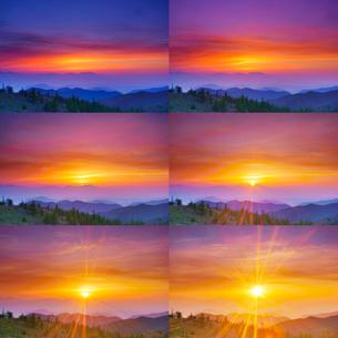 思い出の丘から望む浅間山と朝焼けと昇る朝日の写真素材 [FYI01516190]