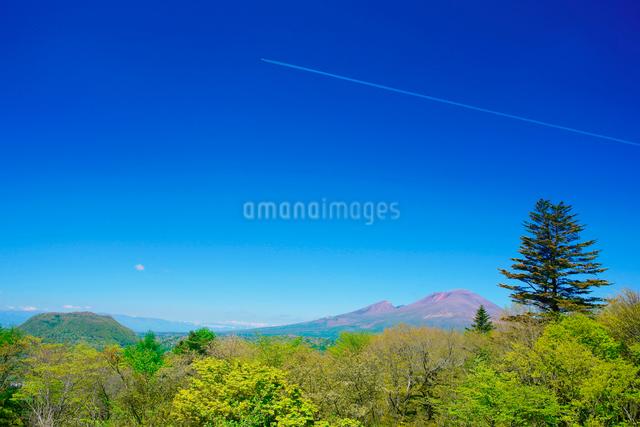 旧碓氷峠から望む浅間山と新緑の樹林と飛行機雲の写真素材 [FYI01516284]