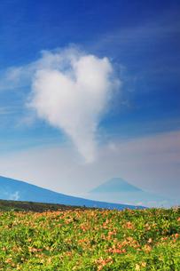 ニッコウキスゲと富士山とハート型の雲の写真素材 [FYI01516509]