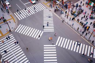 雷門前スクランブル交差点と通行人の写真素材 [FYI01516552]