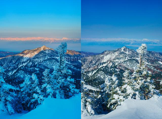 横手山の樹氷群と朝から昼の白馬岳など北アルプスの山並みの写真素材 [FYI01516878]
