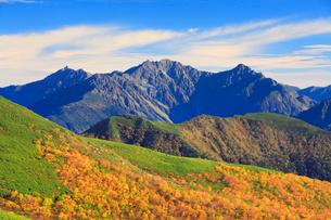 乗鞍岳位ヶ原の紅葉と穂高連峰と槍ヶ岳の写真素材 [FYI01516928]