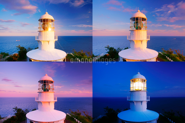 室戸岬灯台の夕夜景,定点撮影の写真素材 [FYI01517093]