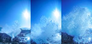 波しぶきの上がる様子と太陽 時間差の写真素材 [FYI01521563]