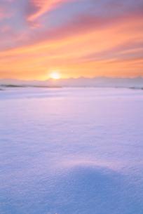 雪原と十勝連峰と朝日の写真素材 [FYI01522240]