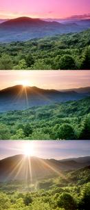 新緑のブナ林と天狗山 朝 時間差定点の写真素材 [FYI01522649]