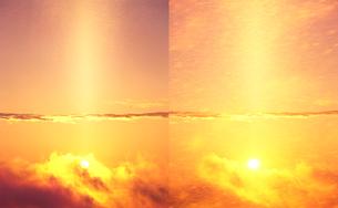 雲間から出る朝日 定点の写真素材 [FYI01522705]