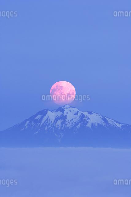 岩木山と月と雲海の朝の写真素材 [FYI01522751]