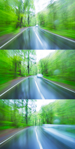 新緑の雨のブナ林走行とすれ違う車の写真素材 [FYI01523372]