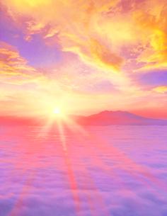 雲海と朝日と斜里岳の写真素材 [FYI01523500]