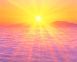 朝日と雲海と斜里岳の写真素材 [FYI01524672]