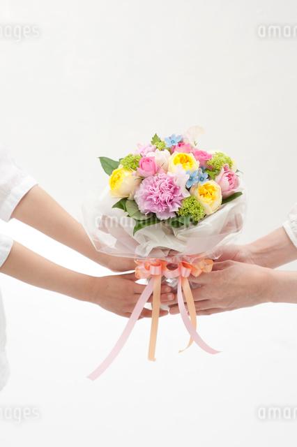 花束を持つ母と女の子の手の写真素材 [FYI01527696]