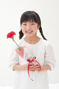 赤いカーネーションを持つ女の子の写真素材 [FYI01527765]