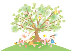 家族と樹木のイラスト素材 [FYI01527883]