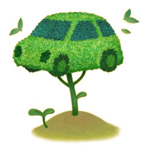 イラストの自動車型の樹木と双葉のエコイメージのイラスト素材 [FYI01527978]