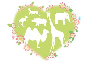 動物とハートと花のイラスト素材 [FYI01528165]