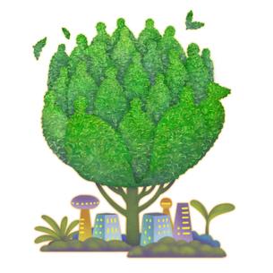 イラストの人型の樹木とビル街と双葉のエコイメージのイラスト素材 [FYI01528223]