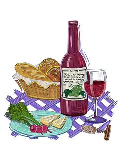 イラストのパンとチーズとラディッシュとワインのイラスト素材 [FYI01528987]