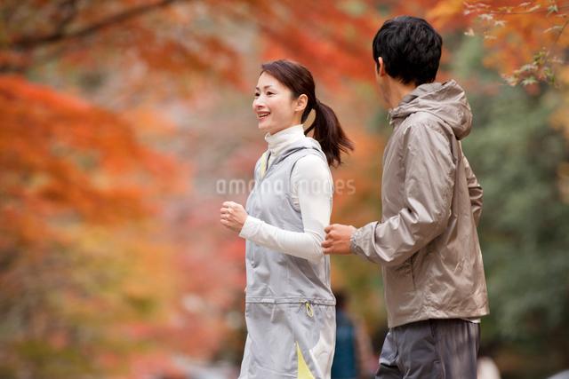 ランニングする夫婦と紅葉の写真素材 [FYI01530631]