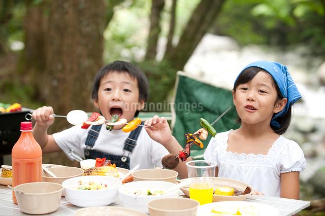バーベキューを食べる子供男女の写真素材 [FYI01531069]
