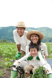 畑の中で一輪車に乗る三人家族の写真素材 [FYI01531088]