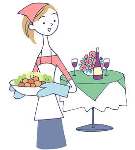 イラスト 食事の準備をする女性のイラスト素材 [FYI01531916]