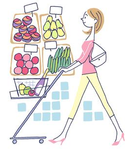 イラスト スーパーで買物する女性のイラスト素材 [FYI01532006]