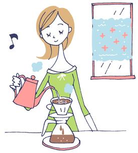 イラスト コーヒーを入れる女性のイラスト素材 [FYI01532053]