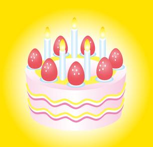 イラスト キャンドルとショートケーキのイラスト素材 [FYI01532224]