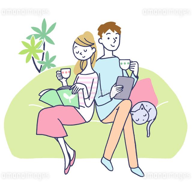 イラスト お茶を飲むカップルのイラスト素材 [FYI01532569]