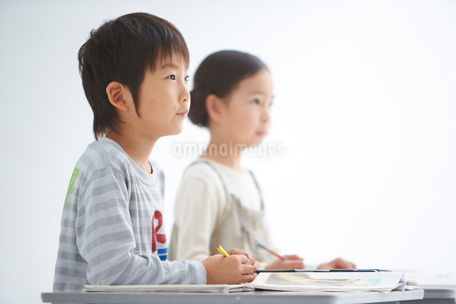 授業中の小学生低学年男女の写真素材 [FYI01532666]