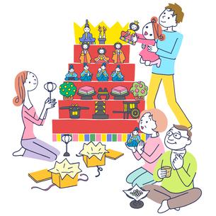 イラスト 雛祭りの三世代家族のイラスト素材 [FYI01532863]