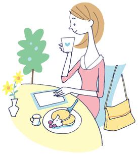 イラスト カフェでお茶を飲む女性のイラスト素材 [FYI01533535]