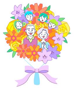 イラスト 花束とシニア夫婦と家族のイラスト素材 [FYI01533818]