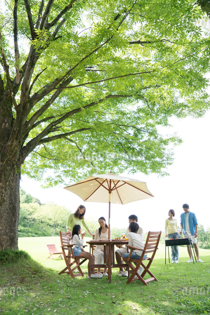 公園でバーベキューをする家族と友達の写真素材 [FYI01533929]
