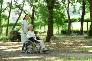 森林浴する介護士と車椅子のシニア女性の写真素材 [FYI01534035]