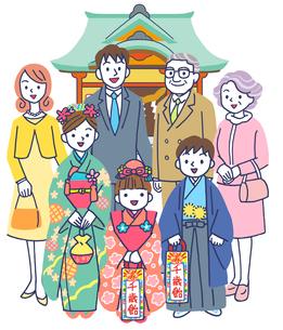 神社で七五三の三世代家族のイラスト素材 [FYI01534289]