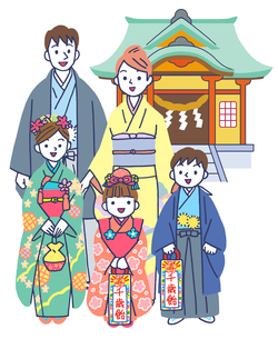 神社で七五三の家族のイラスト素材 [FYI01534321]