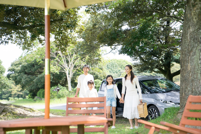 車で公園にピクニックに来た家族の写真素材 [FYI01534548]