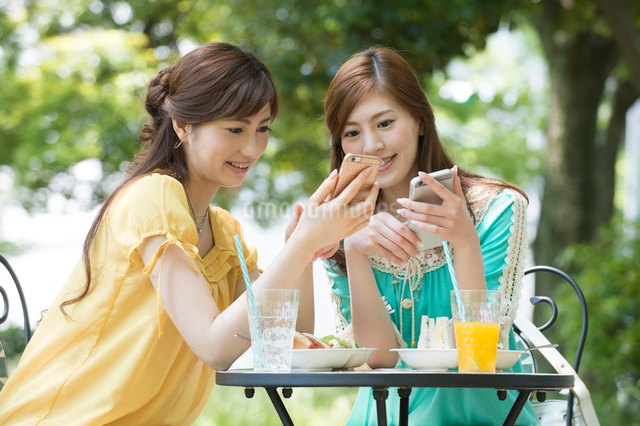 カフェでランチしてスマホを見る女性2人の写真素材 [FYI01534583]