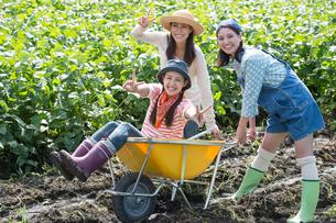 畑で一輪車で遊ぶ女性三人の写真素材 [FYI01534843]