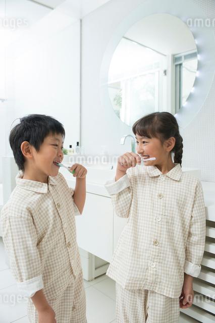 歯磨するパジャマの子供男女の写真素材 [FYI01534948]