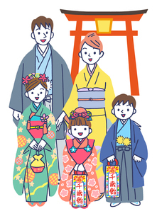 神社で七五三の家族のイラスト素材 [FYI01535268]