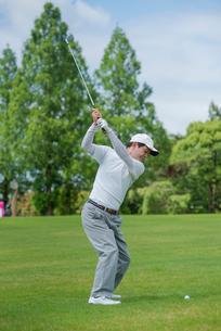 ゴルフをする中高年男性の写真素材 [FYI01536265]