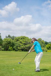 ゴルフをする中高年女性の写真素材 [FYI01536456]