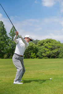 ゴルフをする中高年男性の写真素材 [FYI01536674]