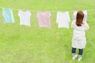 洗濯物を干す若い女性の後ろ姿の写真素材 [FYI01537944]