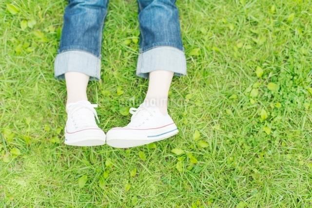 スニーカーをはいた女性の足元の写真素材 [FYI01537955]
